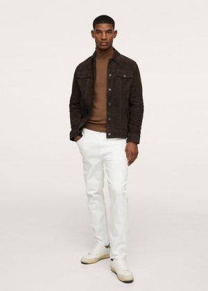 Кожаная куртка с карманами - Lynx Mango. Цвет: оливковый