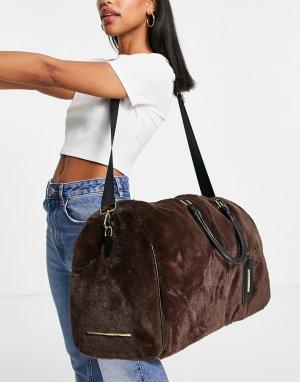 Большая коричневая сумка из искусственного меха -Коричневый цвет Steve Madden