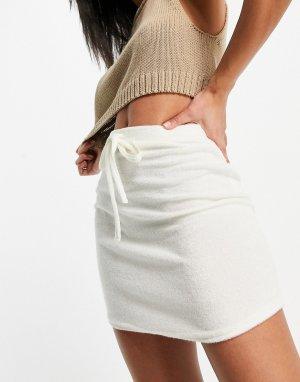 Кремовая махровая мини-юбка с завязкой -Белый ASOS DESIGN