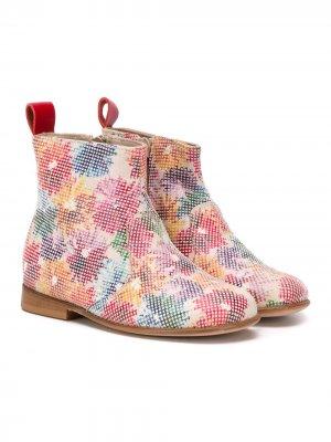 Ботинки с цветочным принтом Pèpè. Цвет: белый