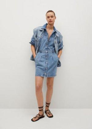 Джинсовое платье с эластичным поясом - Luna Mango. Цвет: синий средний