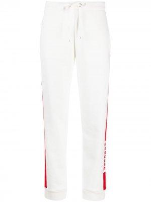 Спортивные брюки с лампасами и логотипом Moncler. Цвет: белый