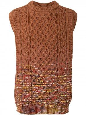 Жилет Gradation Aran фактурной вязки Coohem. Цвет: коричневый
