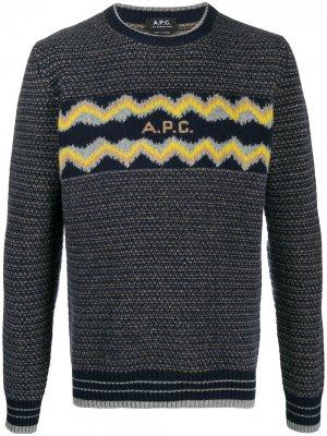 Джемпер с логотипом вязки интарсия A.P.C.. Цвет: синий