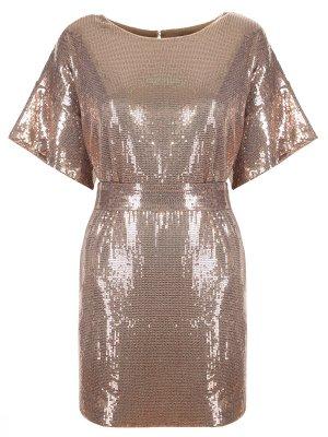 Платье-туника с пайетками A la Russe. Цвет: коричневый