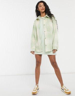 Зеленая клетчатая рубашка с карманами спереди Benny-Зеленый цвет Monki