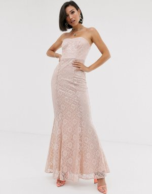 Кружевное платье макси с вырезом бандо -Розовый ASOS DESIGN