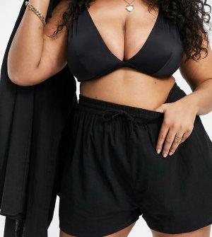 Фактурные пляжные шорты черного цвета ASOS DESIGN Curve-Черный цвет Curve