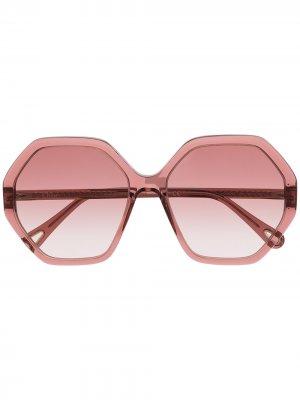 Солнцезащитные очки Esther в восьмиугольной оправе Chloé Eyewear. Цвет: розовый