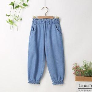 Зауженные джинсы для девочек SHEIN. Цвет: синий цвет средней стирки