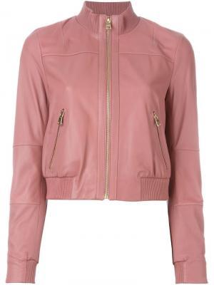 Кожаная куртка-бомбер Twin-Set. Цвет: розовый и фиолетовый