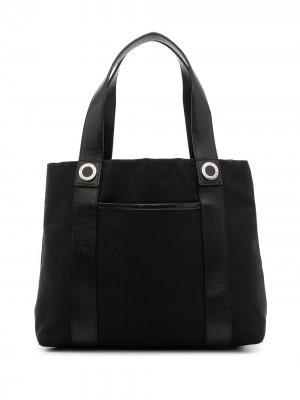 Жаккардовая сумка-тоут с логотипом Bvlgari Pre-Owned. Цвет: черный