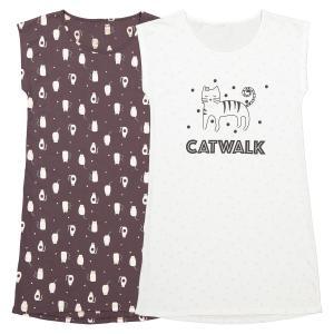 Комплект из 2 ночных рубашек-больших футболок LA REDOUTE COLLECTIONS. Цвет: черный + белый