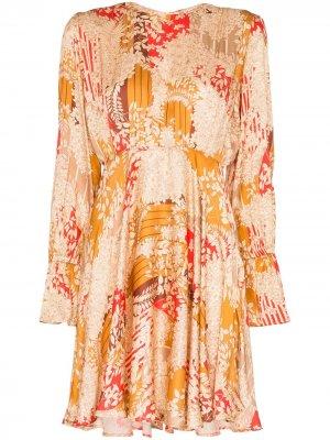 Присборенное платье мини с цветочным принтом byTiMo. Цвет: оранжевый