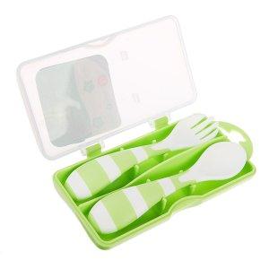 Набор детских столовых приборов для кормления в контейнере, 2 предмета: вилка, ложка, цвет зелёный Mum&Baby