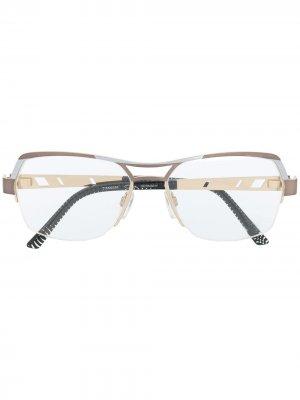 Очки с прозрачными стеклами Cazal. Цвет: коричневый