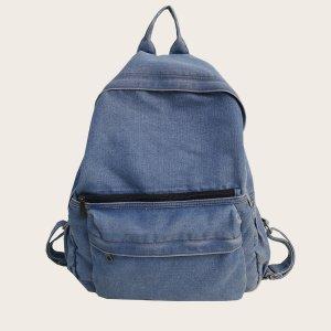 Джинсовый рюкзак большой емкости SHEIN. Цвет: бирюзовый