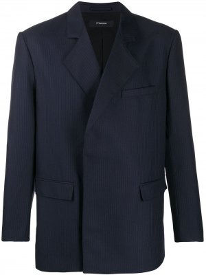 Двубортный пиджак в тонкую полоску GR-Uniforma. Цвет: синий