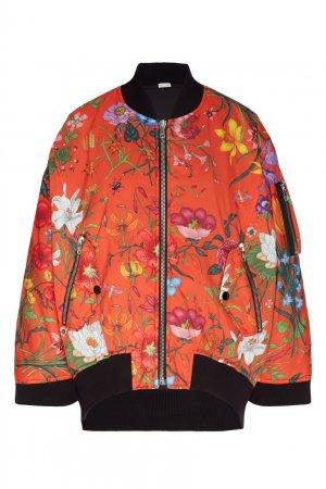 Красный бомбер с цветочным принтом Gucci. Цвет: черный