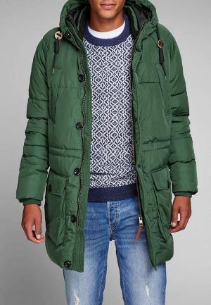 Куртка утепленная Jack & Jones. Цвет: зеленый