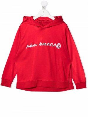 Logo-print rib-trimmed hoodie MM6 KIDS. Цвет: красный