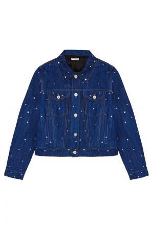 Джинсовая куртка с кристаллами Miu. Цвет: голубой