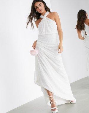 Свадебное платье с халтером и пайетками -Белый ASOS EDITION