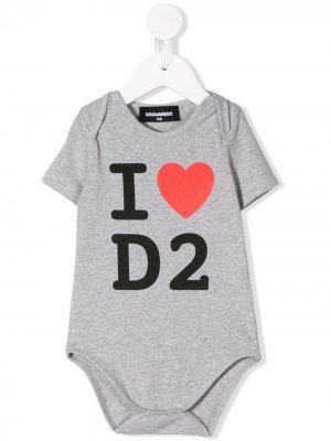 Боди с логотипом Dsquared2 Kids. Цвет: серый