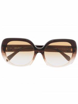 Солнцезащитные очки в массивной оправе с эффектом градиента Zadig&Voltaire. Цвет: коричневый