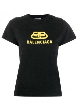 Футболка с логотипом BB Balenciaga. Цвет: черный