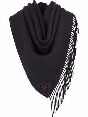 Шаль с логотипом и бахромой Fendi. Цвет: черный