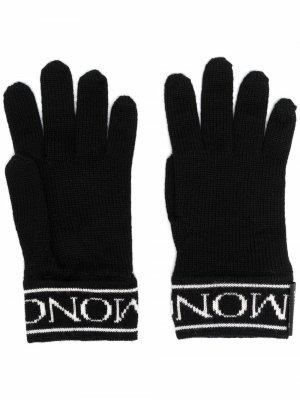 Перчатки с логотипом Moncler Enfant. Цвет: черный