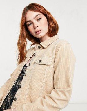 Вельветовая джинсовая куртка песочного цвета Kiraz-Нейтральный JDY