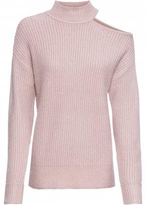 Пуловер с высоким воротником bonprix. Цвет: розовый