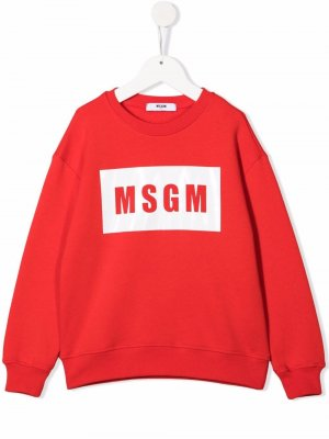 Logo-print cotton sweatshirt MSGM Kids. Цвет: красный
