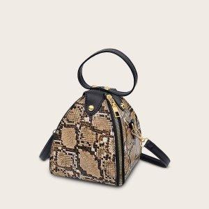 Сумка-портфель с змеиным принтом SHEIN. Цвет: многоцветный