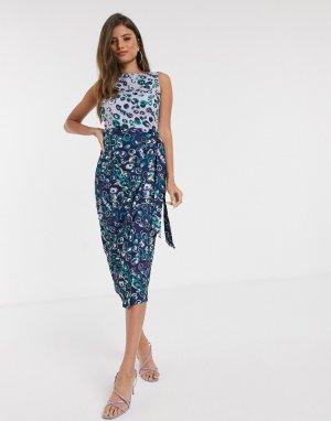 Платье-футляр с запахом и цветочным принтом -Фиолетовый Closet London