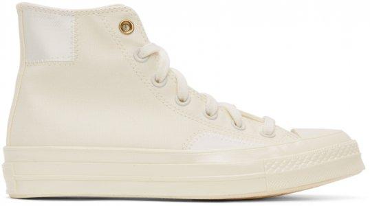 Off-White Clean N Preme Chuck 70 High Sneakers Converse. Цвет: egret