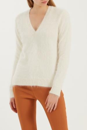 Белый фактурный пуловер Gucci