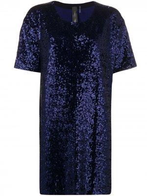 Платье мини с короткими рукавами Norma Kamali. Цвет: синий