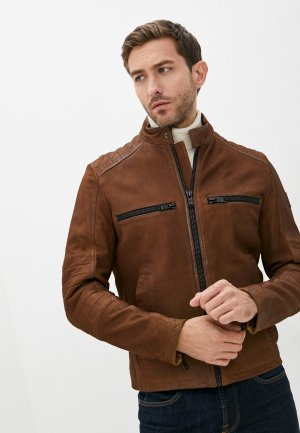 Куртка кожаная Boss Jasslo. Цвет: коричневый