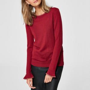 Пуловер с круглым вырезом в клетку из трикотажа 49% шерсти SELECTED FEMME. Цвет: малиновый