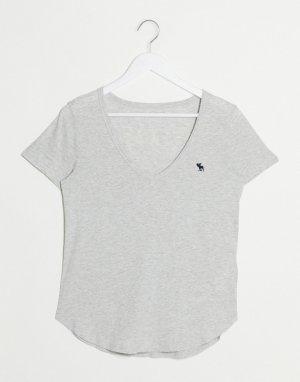 Серая футболка с логотипом и v-образным вырезом -Серый Abercrombie & Fitch