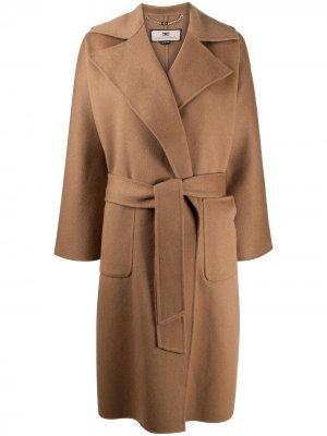 Пальто с запахом и поясом Elisabetta Franchi. Цвет: нейтральные цвета