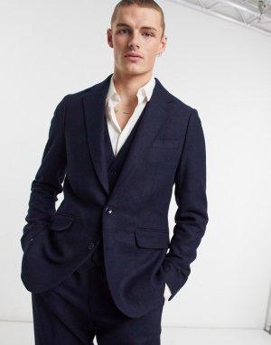 Приталенный пиджак из фактурной шерсти -Темно-синий Gianni Feraud
