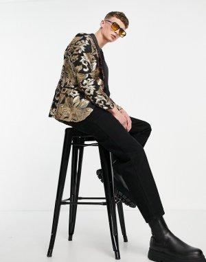 Черный блейзер с цветочным узором из золотистых пайеток -Черный цвет Twisted Tailor