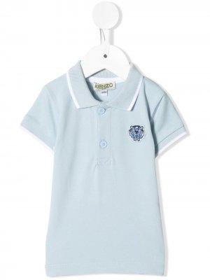 Рубашка-поло с короткими рукавами и вышивкой Kenzo Kids. Цвет: синий