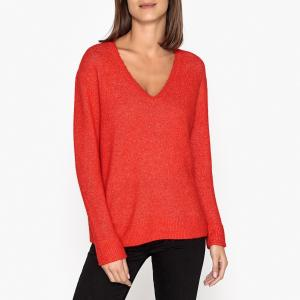 Пуловер с V-образным вырезом из тонкого трикотажа SAMSOE AND. Цвет: красный