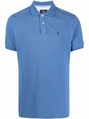 Узкая рубашка поло с вышитым логотипом Hackett. Цвет: синий
