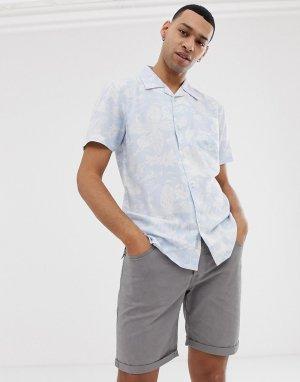 Голубая рубашка с принтом листьев и рыб -Синий Bellfield